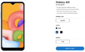Galaxy A01 spotted in Samsung PH's website