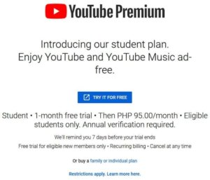 How to get YouTube Premium student rate in the Philippines